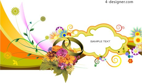 Dazzling floral decoration shading vector material