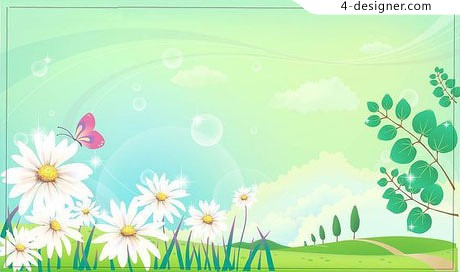 Fresh and natural scenery field vector material