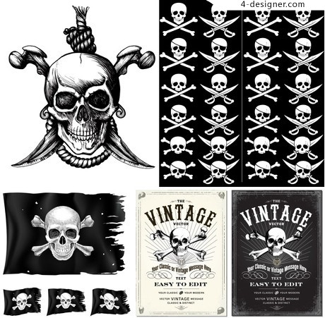 Pirates poster vector elements