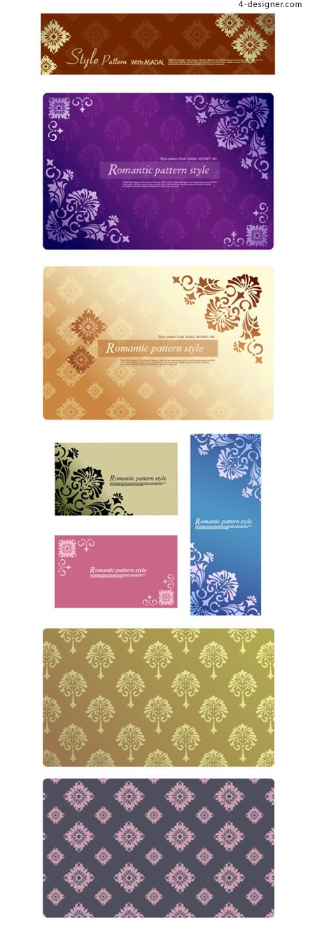 Romantic style pattern background vector material
