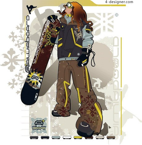 Ski youth movement vector material