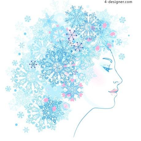 Snowflake pattern vector woman in profile vector material