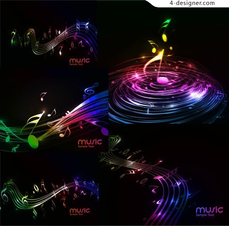 Soft background music notes vector material