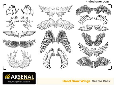 The trend of hand painted wings vector material
