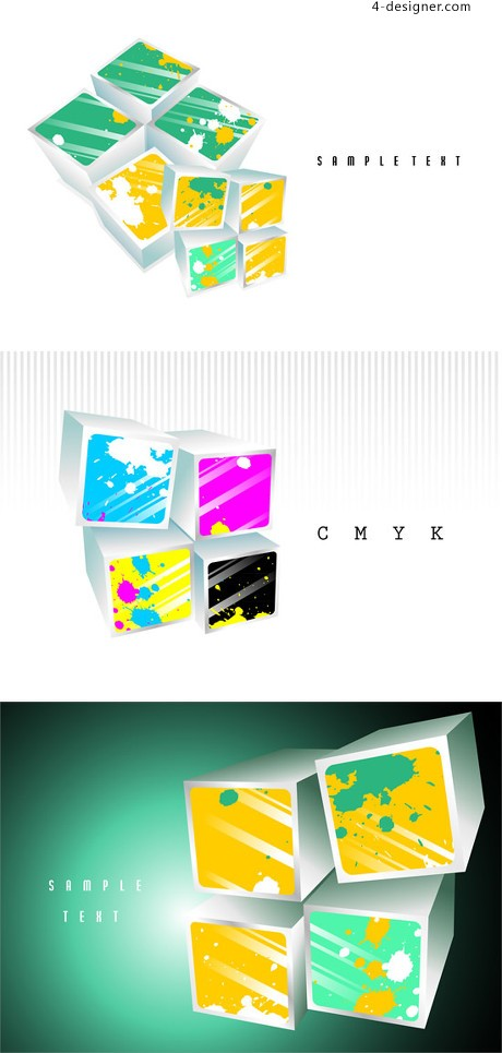 Three dimensional color ink squares background vector material