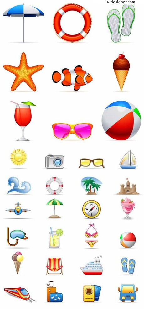 Tourist resort related elements icon design vector material