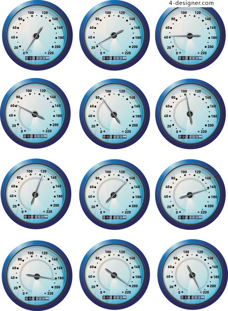 Variety of car mileage speedometer vector material