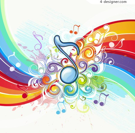 Behind the music pattern vector material