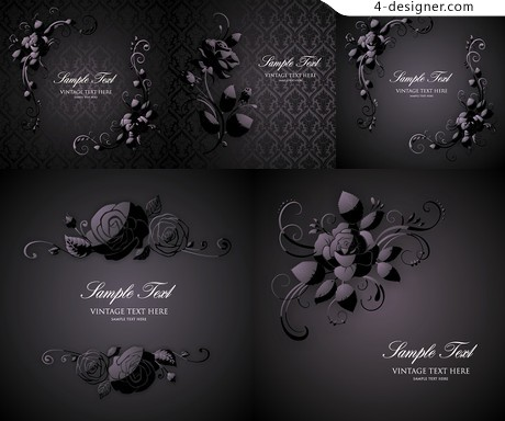 Black rose pattern background vector material