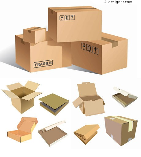 Blank carton box vector material