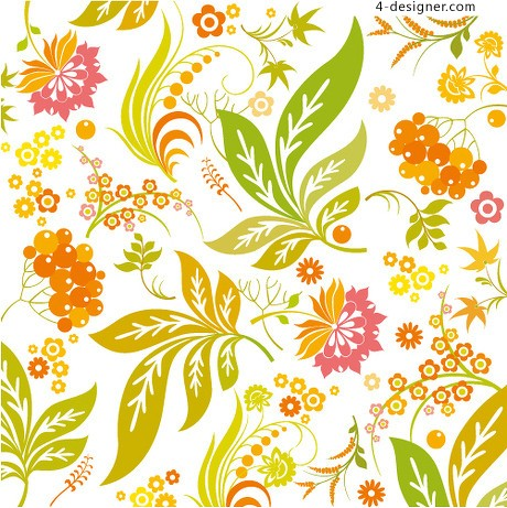 Bright colorful floral background pattern vector material