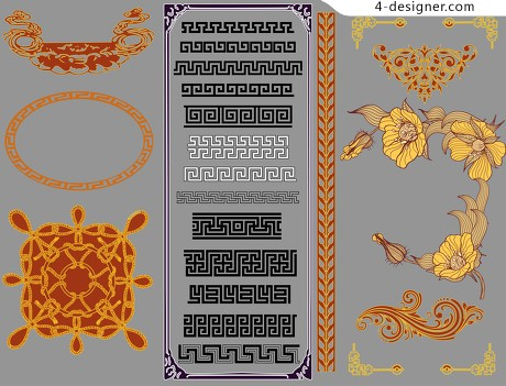 Classical Chinese style lace pattern vector material