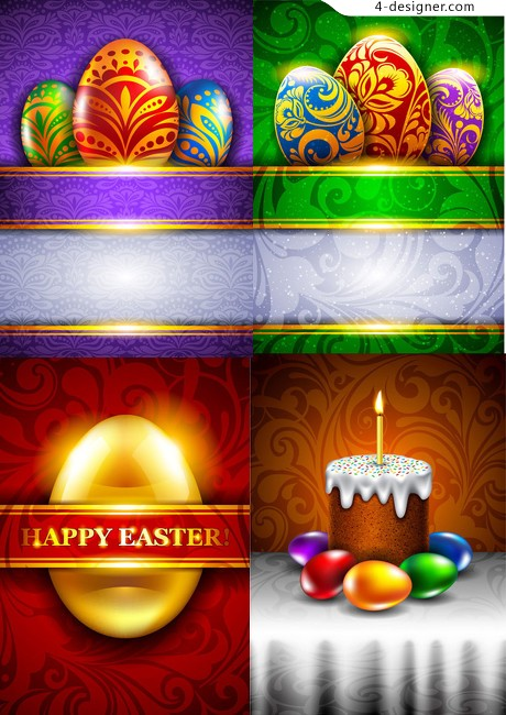 Colorful Easter greeting card background vector material