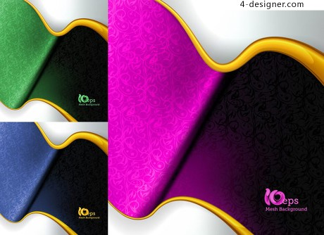 Exquisite curve shading background vector material