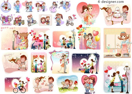 People love theme Variety vector material
