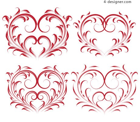 Red heart shaped pattern vector material