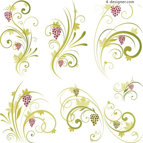 Vines and grapes pattern vector material