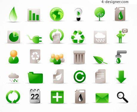 30 models of green icon vector material