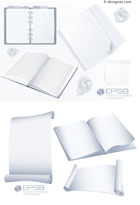 Blank notepad notebook design vector material