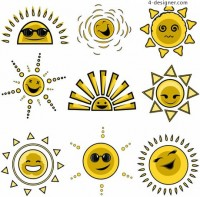 Cartoon sun Avatar expression vector material