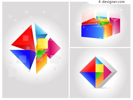 Colorful three dimensional geometric background vector material