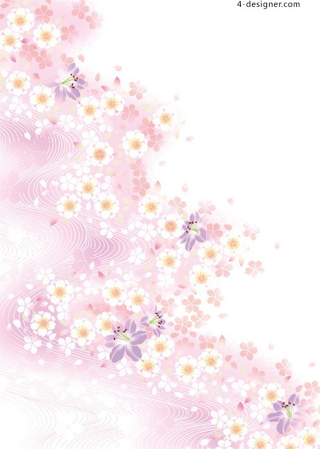 Fantasy flowers background vector material