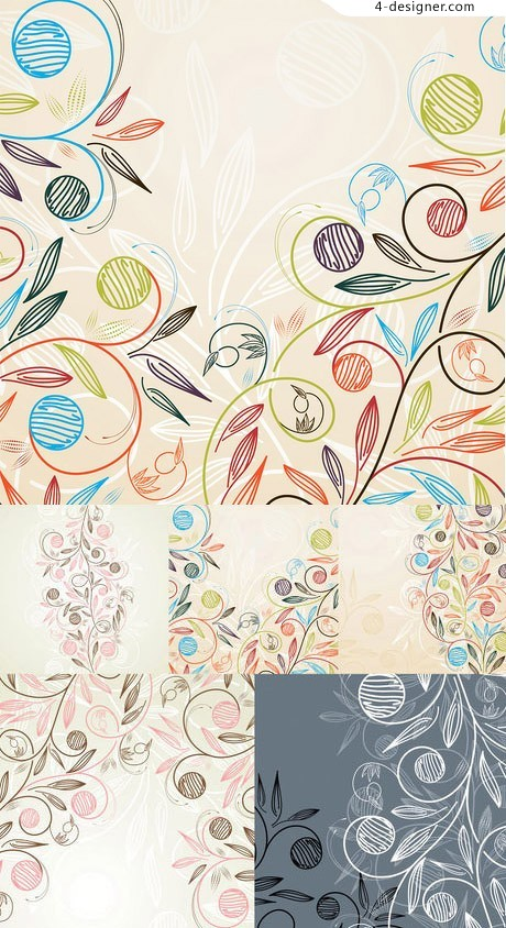 Hand painted style pattern vector material light colors