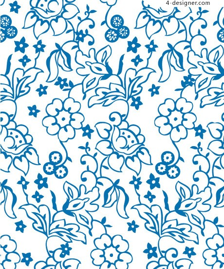 Lovely lines flower pattern background vector material
