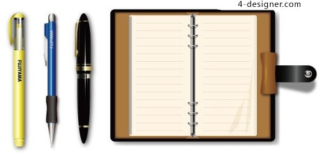 Pen and notebook vector material