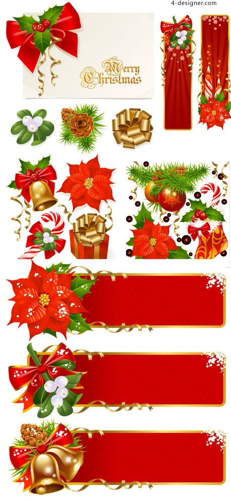 Red Christmas design elements vector material