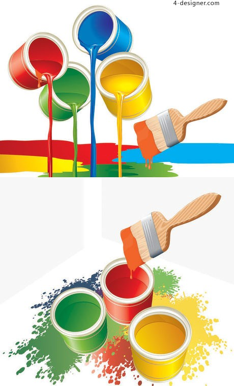 Red yellow blue and green paint vector material