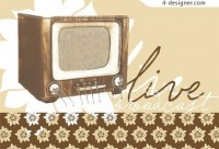 Retro vintage style TV vector material
