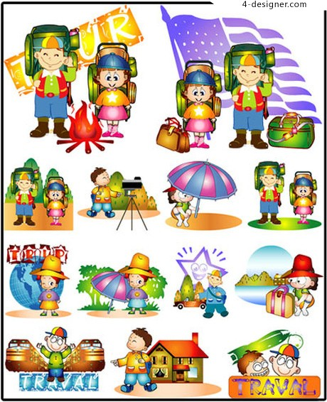 Variety of cartoon images of children vector material