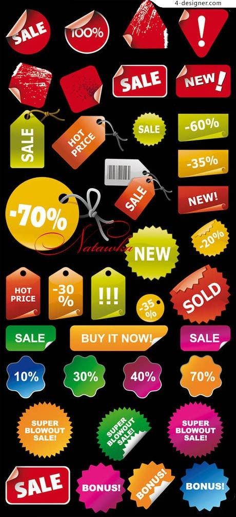 Variety of sales notes vector material