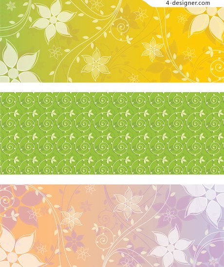Vector line drawing of plant material aesthetic patterns Banner