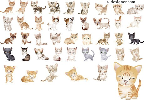 40 variety of cute little cat vector material