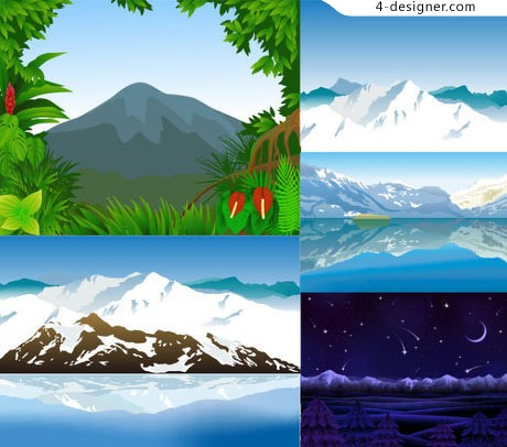 6 Mountains illustrations vector material