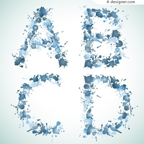 Alphabet vector material ink droplets effect