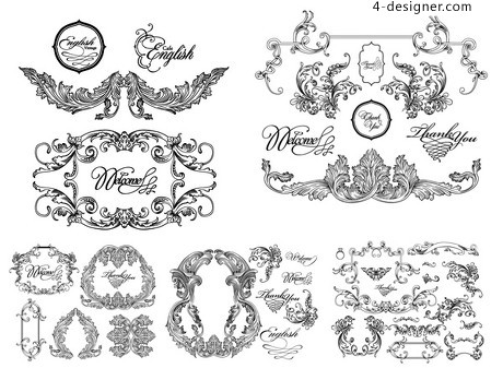 Black and white lace pattern vector material