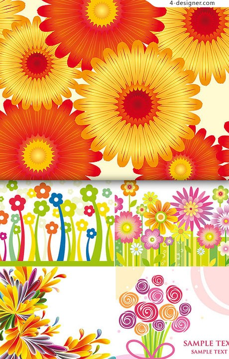 Bright lovely flowers vector material