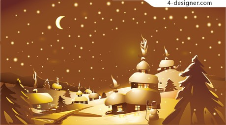 Christmas landscape vector material 01