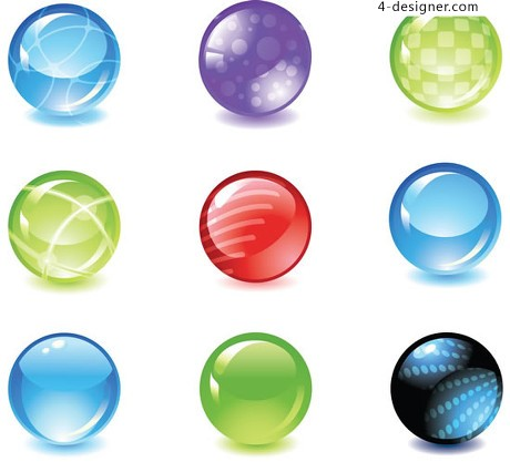 Colorful crystal ball vector material