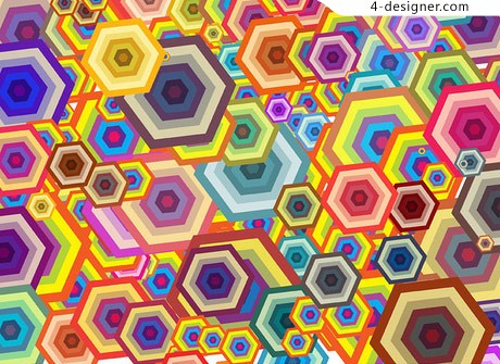 Colorful hexagon background texture vector material
