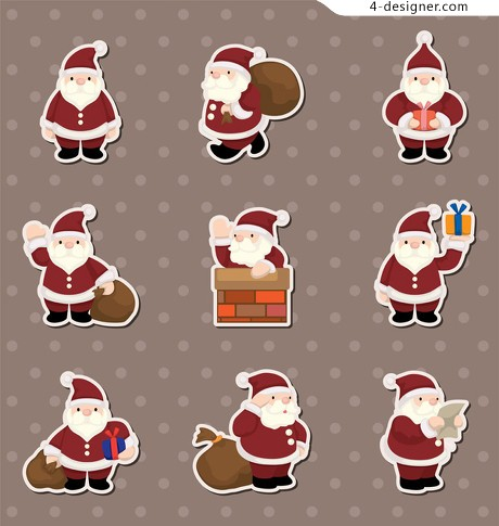 Cute cartoon Christmas element stickers vector material