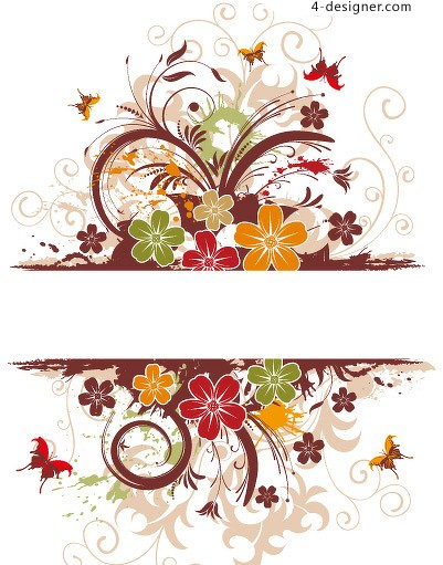 Exquisite pattern with butterflies vector material