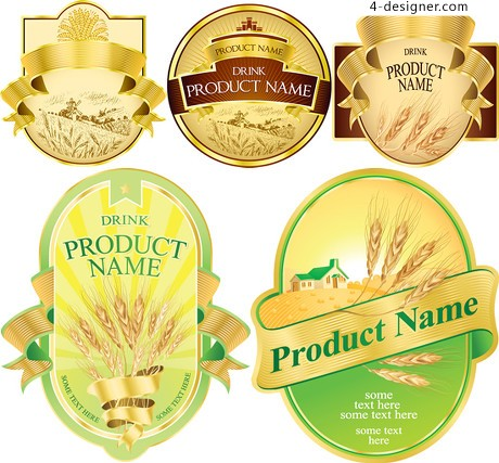 Golden wheat product label vector material