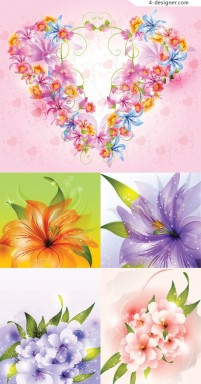 Gorgeous fantasy flowers background vector material 2