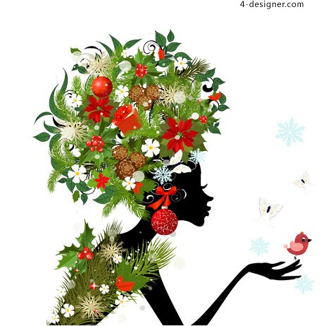 Gorgeous floral beauty silhouette vector material 03