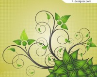Green decorative pattern vector material