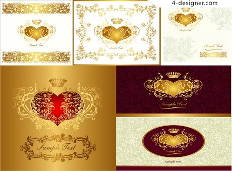 Heart shaped golden crown lace pattern vector material